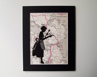 Mounted Vintage Map Print - Cooking Lady on Vintage Map of the Tasman Peninsula in Tasmania, Australia 8 x 10
