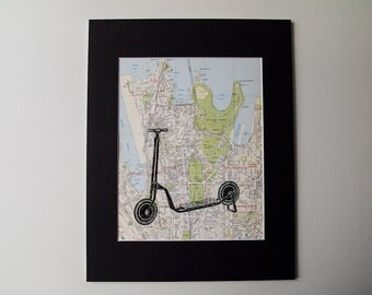 "Scooter Print, Mounted on a Vintage Map of Sydney, Australia - 11 x 14"" Ready to Frame"