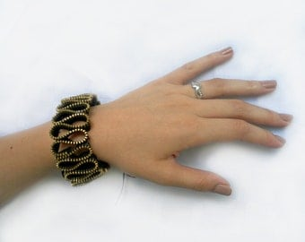 Cuff Black Zipper bracelet, Handmade creatively jewelry, Gift for her, eco friendly, recycled jewelry, size is adjustable
