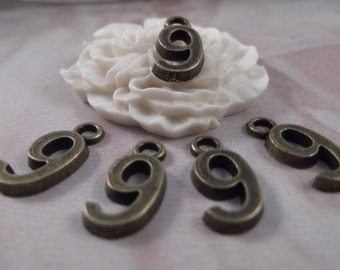 "5 Number ""9"" Antique Bronze Charms --- Antique Bronze Color"