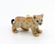 1 - Porcelain Lion Cub Pendant Hand Painted Glaze Ceramic Animal Small Ceramic Lion Cub Bead Jewelry Supplies Little Critterz (CA211)