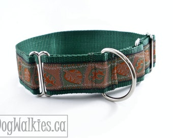 """Amber Forest Fall Leaves Dog Collar // 1.5"""" (38mm) Wide //  Martingale or Quick Release Buckle // Choice of style and size // Thanksgiving"""