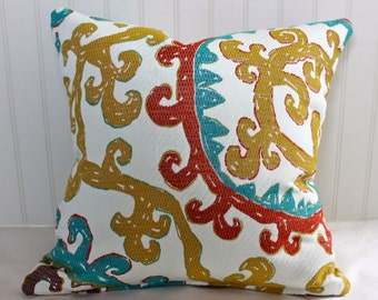 IN STOCK / Gold, Teal, Red and Ivory Suzanni Pillow Cover / 18 X 18 / Same upholstery fabric both sides