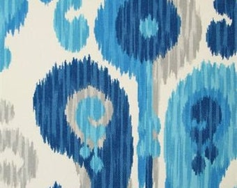 Blue, Turquiose, Grey and White Ikat Pillow Covers in Braemore's Journey Seaglass Indoor Outdoor