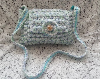 Lined Crochet Shoulder Bag - Bobble Bag - Pastel Colours - Fully Lined - FREE UK DELIVERY
