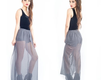 Grey Dotted Sheer Chiffon high waisted Floor Length Hippie Boho Festival gypsy Maxi S M L  Custom Length Available
