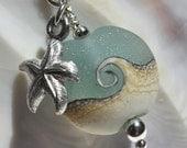beach jewelry, ocean jewelry, beach necklace, ocean wave starfish necklace, lampwork necklace, seafoam lampwork pendant, beach gift