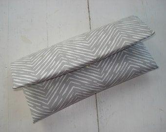 Skinny Gray and White Chevron Clutch- Wedding Clutch, Bridesmaid Clutch, Gray Clutch