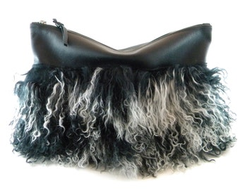 RESTOCKED! Only One! Mongo Leather & Mongolian Fur Statement Clutch | Leather Clutch | Tibetan | Black Bag | Fur Bag | Hair On | Handmade