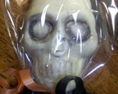 12 Spooky Shimmery Skull Skeleton Head Chocolate Candy Halloween Lollipop Party Favors