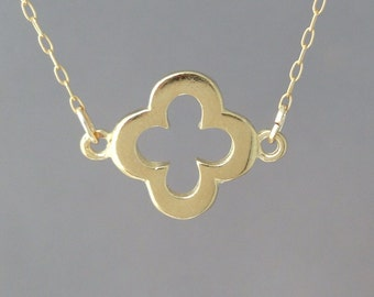 Thicker Gold Clover Necklace also in Silver