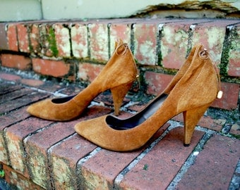 Vintage // Rare Caramel Suede Witch Pumps // Size 7.5 // Pointed Heels // Avant Garde Leather Detailing