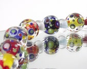 Lampwork bead set. 5 spotty beads and 6 spacers