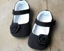 Black baby girl shoes, black classy elegant mary janes, special occasion special event dressy baby booties