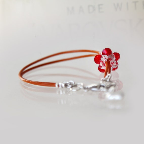 3D beaded bead flower charm bracelet on natural orange leather cord_ready to ship