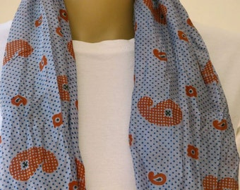 Light blue Silk Scarf with red Paisley pattern