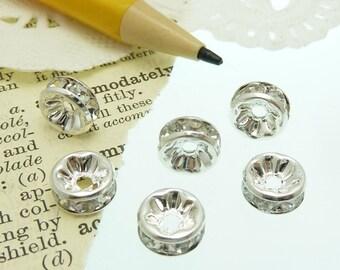 6  silver  / brass rhinestone  roundel spacer beads 8 mm