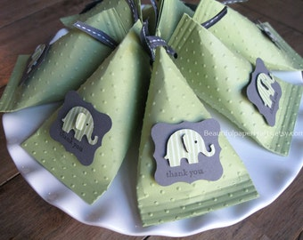 Green and Grey  Baby Elephant - Baby Shower Favors - Birthday Party Favors-Elephant favor boxes..set of 12