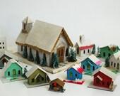 MId Century Christmas Village, PUTZ Miniature Christmas Houses, Custom Christmas Gift For Wife Mom, Miniature Paper Christmas Church, Japan