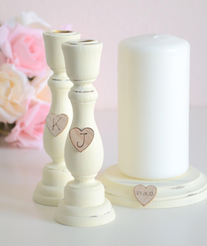 Set of 3 personalized wedding unity candle holders-ivory