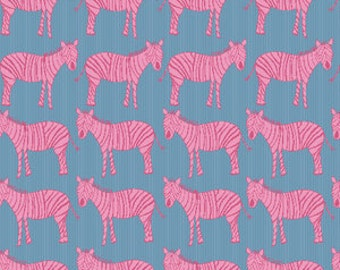 Zebra March in Blue and Pink (Pink Zebras) - A-7362-BE - Za Za Zoo by Creative Thursday for Andover Fabrics - 1/2 Yard
