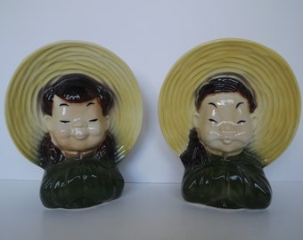 Vintage Royal Copley Sister & Brother, Wall Pocket Vases, Asian Decor, Mid-Centruy Home Decor, Art Pottery, Circa 1947