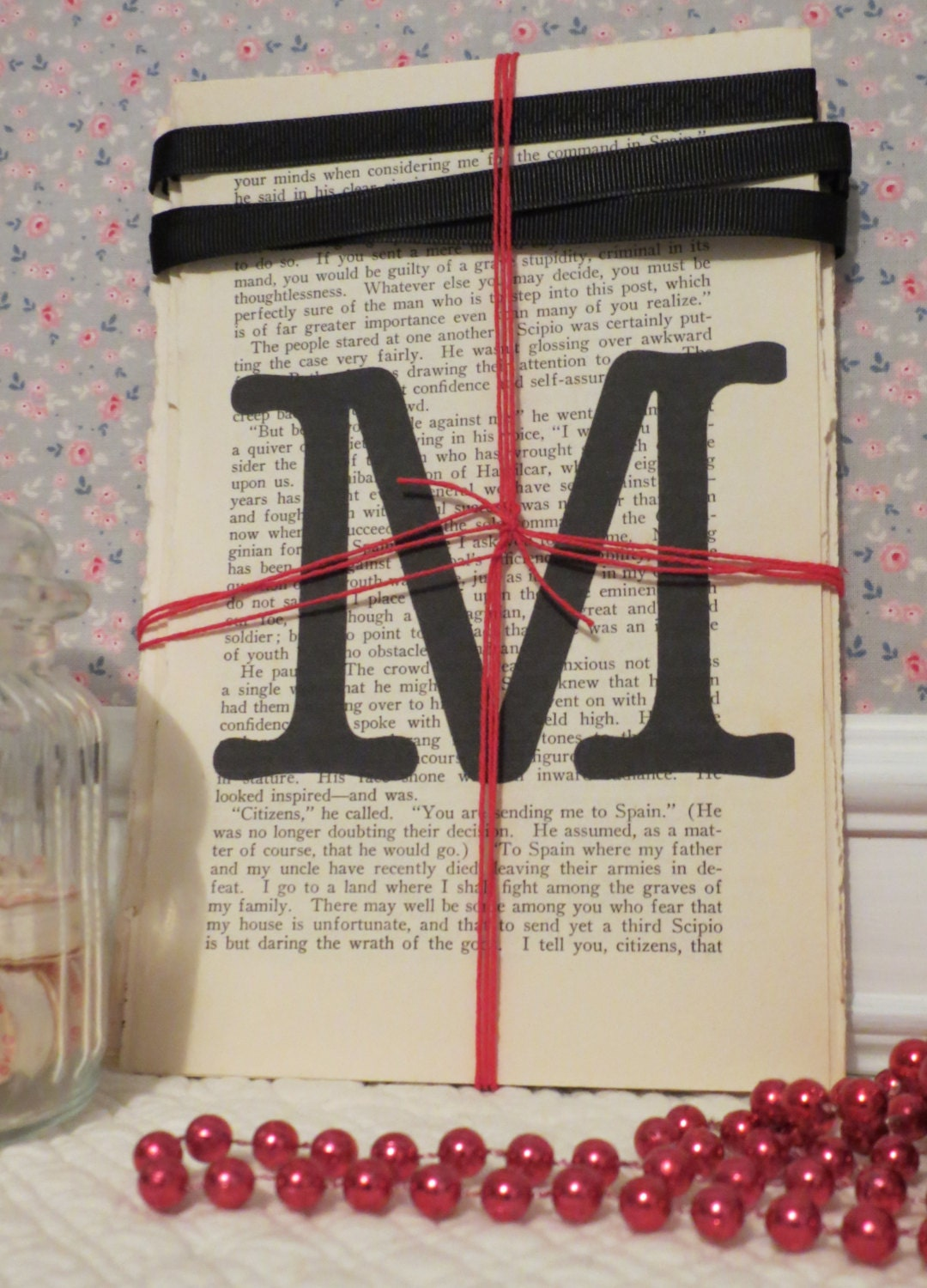 Merry Christmas/Xmas Bunting on Vintage Book Pages