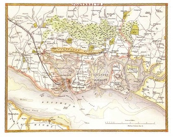 Portsmouth 1840 or 1843 - Antique map of the Environs of Portsmouth, England by Thomas Moule - MAP PRINT