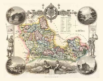 Berkshire 1837. Antique map of the County of Berkshire, England by Thomas Moule - MAP PRINT
