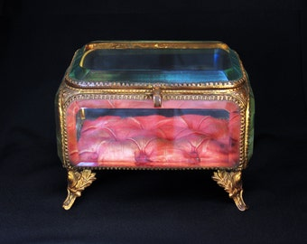 Antique French Large Gold Ormolu & Bevelled Glass Jewellery Casket. Romantic Wedding, Engagement, Red Silk, Valentine's, Display, Love Token