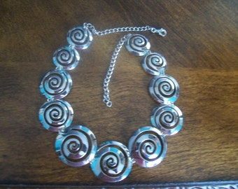 Vintage SWIRL Retro Choker Necklace Sterling Silver .925