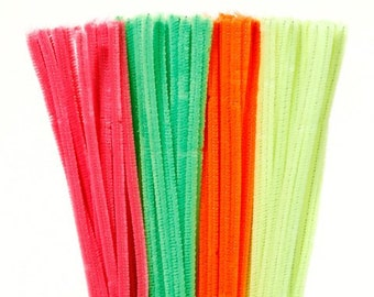 "100 Neon Chenille Stems (12"" x 6mm)"