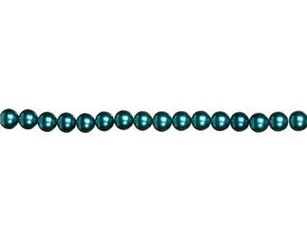 12mm Teal Glass Pearls (2 Strands)