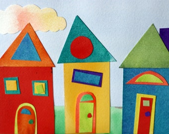 Colorful Houses Collage, street, watercolor, whimsical, houses in a row, neighborhood, recycled, childrens art