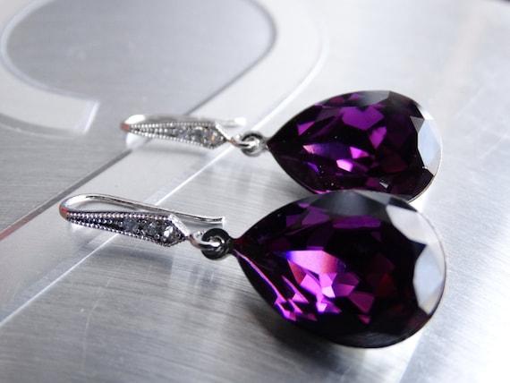 Purple earrings Amethyst Earrings Crystal Swarovski Earrings Bridal Earrings Bridesmaid Gift  Wedding Jewelry Purple swarovski earrings