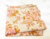 Five Large Vintage Retro Cotton Fabric Squares - Dusty Rose