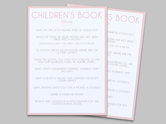 baby shower game children 39 s book trivia instant download pink