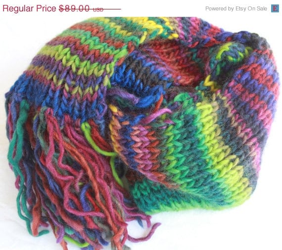 Knit Scarf Patterns For Bulky Yarn : SALE Hand Knit Scarf in Bulky Mulit Color Wool Yarn by bpenatzer