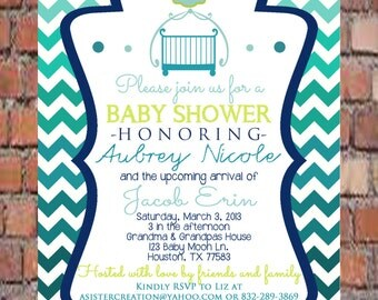 Boy Baby Shower Invitation- Baby Shower Invitation- Ombre Blues Shower Invitation