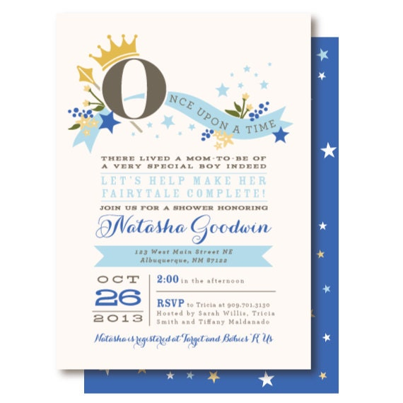 once upon a time prince baby shower invitations