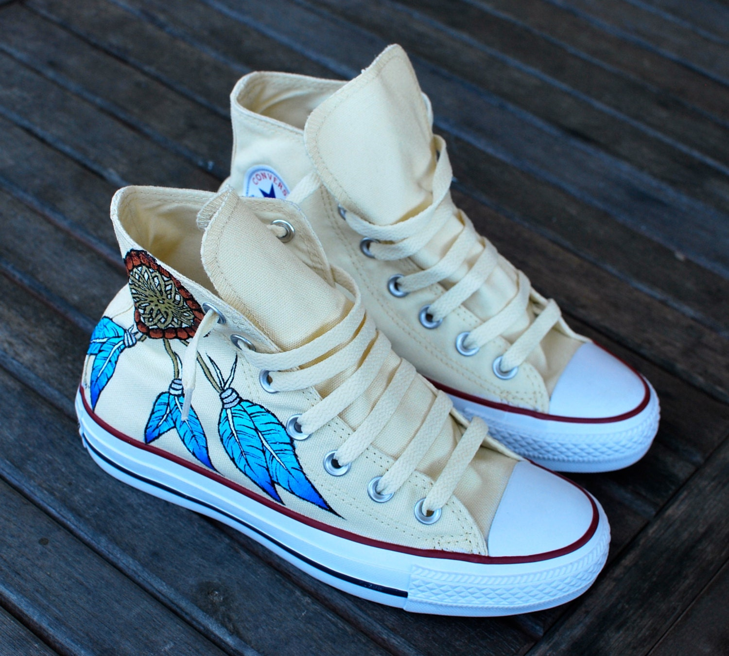 custom hand painted converse sneakers dream catcher and