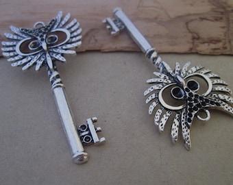 5pcs of  Antique Silver Owl Key  pendant charm 28mmx56mm