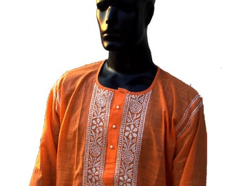 Orange dress long sleeve shirt for man kurta Perfect Viking tunic gift for him kurta pattern gypsy clothing boho tribal bohemian chic dress