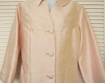 Vintage 1960s Pink George Brown of California Silk Shantung Jacket