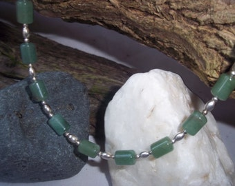 Jade & sterling silver necklace