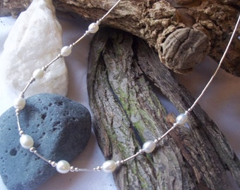 White Freshwater Pearl and sterling silver necklace