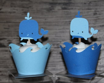 Whale Cupcake Wrapper or Topper / Picks ~ Set of 12
