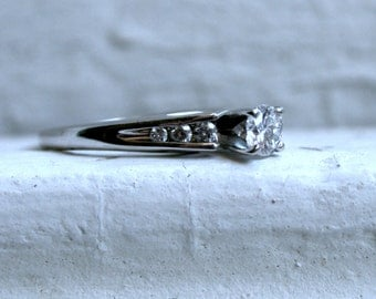 Classic Vintage 14K White Gold Diamond Engagement Ring - 0.54ct.