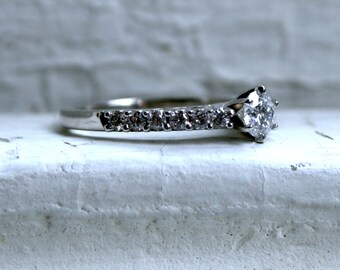 Vintage 14K White Gold Diamond Engagement Ring.