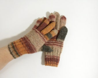 Hand Knitted Gloves - Brown, Red, Black, Size Medium